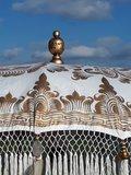 Ibiza/Bali parasol (off white, goud dubbel beschilderd)_