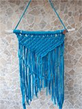 Wandkleed macramé op hout( turquoise)_