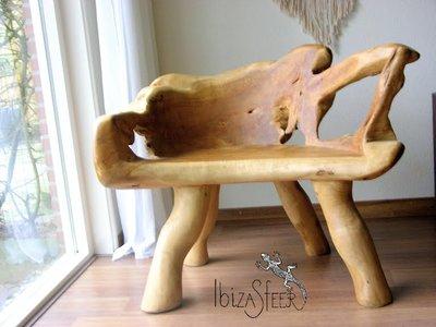 Teak houten boomstam bankje Tocon