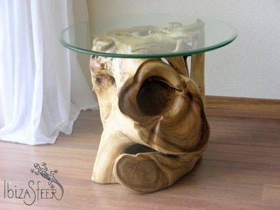 Boomworteltafel met glasplaat