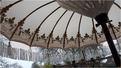 Ibiza/Bali parasol (off white, goud)