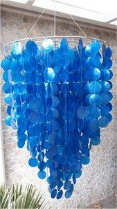 Schelpenlamp Capiz blauw