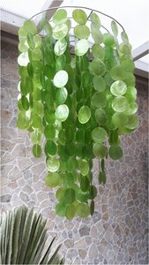 Schelpenlamp Capiz groen