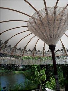 Ibiza/Bali parasol (off white, zilver)